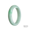 58mm Green, White Burmese Jadeite Jade Bangle Bracelet
