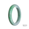 62mm Green, White Burmese Jadeite Jade Bangle Bracelet - MAYS