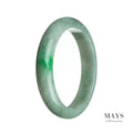 64mm Green, White Burmese Jadeite Jade Bangle Bracelet - MAYS