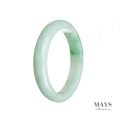 58mm White, Green Burmese Jadeite Jade Bangle Bracelet - MAYS