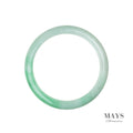 61mm White, Green Burmese Jadeite Jade Bangle Bracelet - MAYS