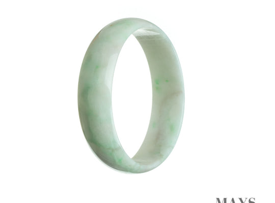 52mm White, Green Burmese Jadeite Jade Bangle Bracelet