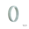 53mm White Burmese Jadeite Jade Bangle Bracelet - MAYS