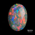 1.80ct Natural Solid Black Opal with Fluoro Orange and Red Colours - MAYS