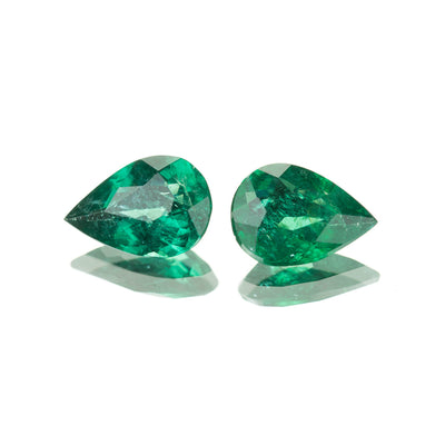 3.58ct Brazilian Emerald Pear Shape Pair