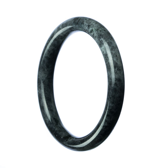 59mm Natural Burmese Jade Bangle - maysgems