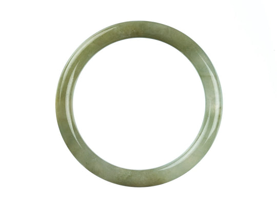 55mm Natural Burmese Jade Bangle - maysgems