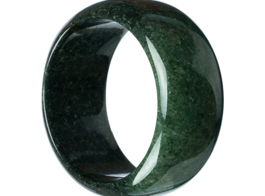 63mm Natural Burmese Jade Bangle - maysgems