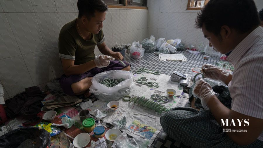 Workers at a Jade treatment factory in Myanmar.
