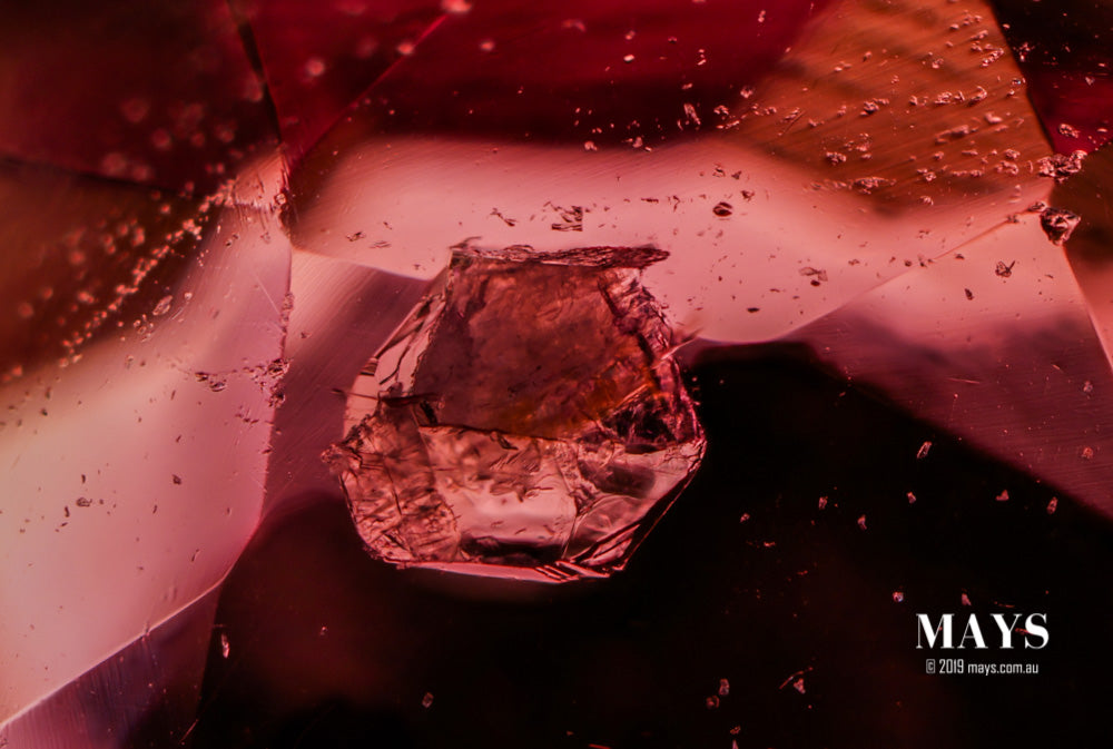 An well formed crystal inclusion seen inside of an unheated Burmese Ruby. Likely to be Apatite