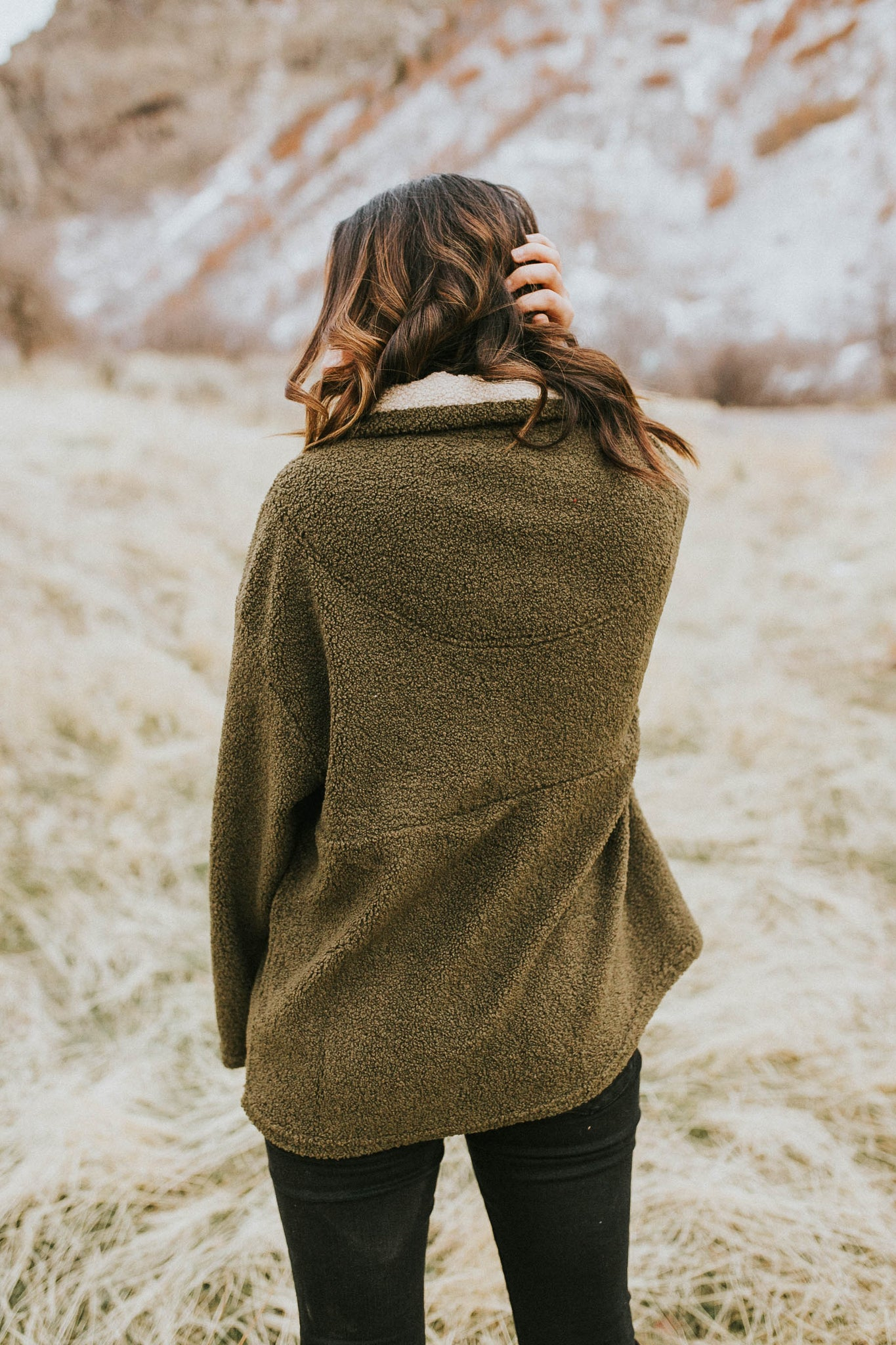 Olive-You Sherpa Pullover