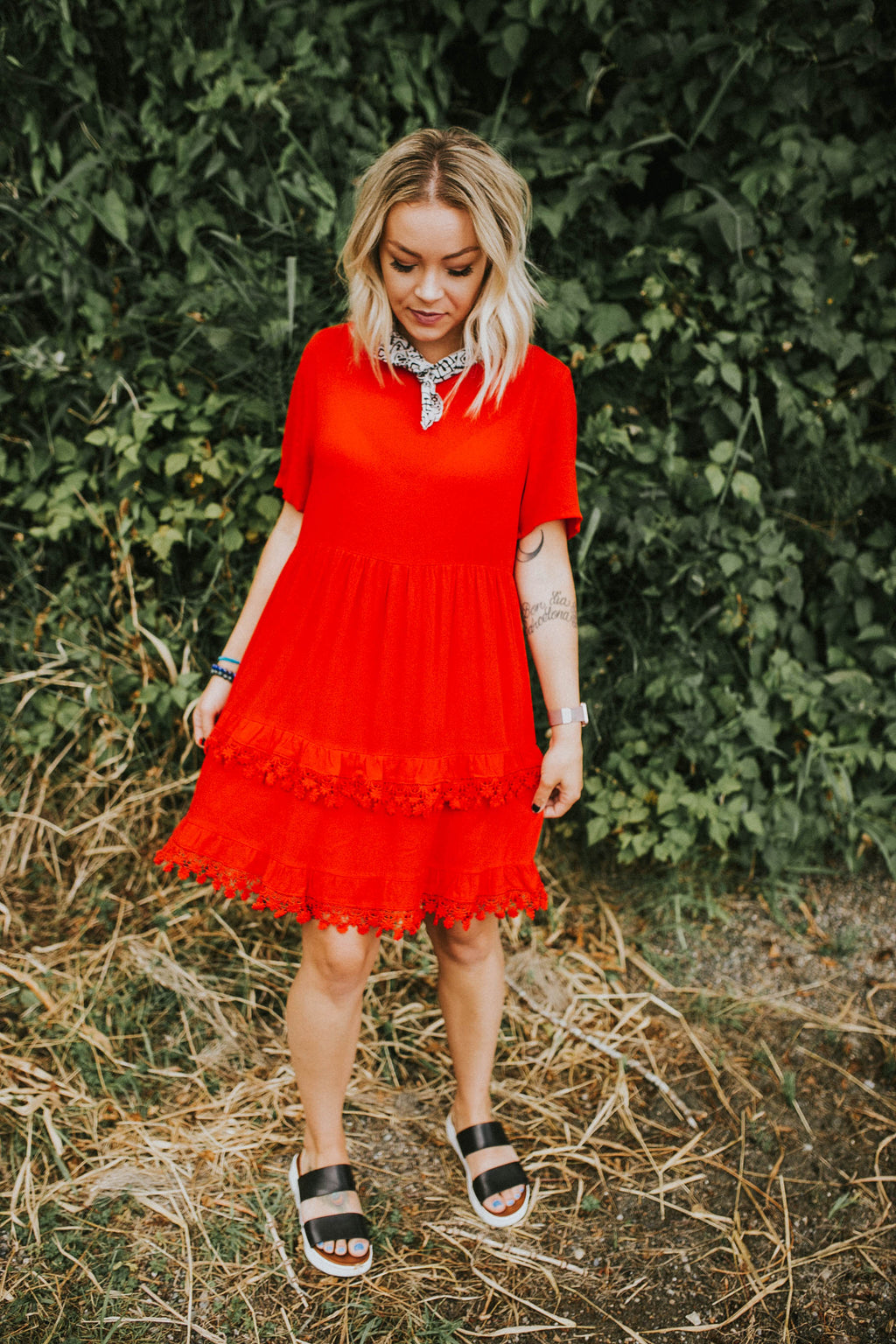 Red Floral Fringe Dress