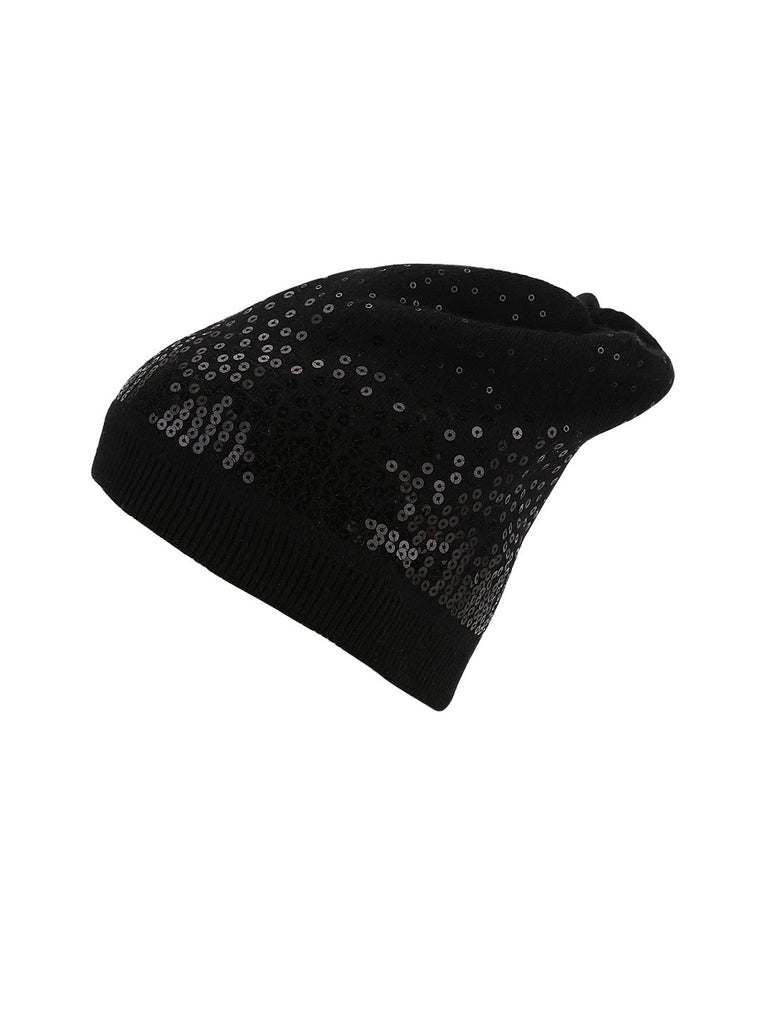 Black Sequins Beanie - Hair Drama Company