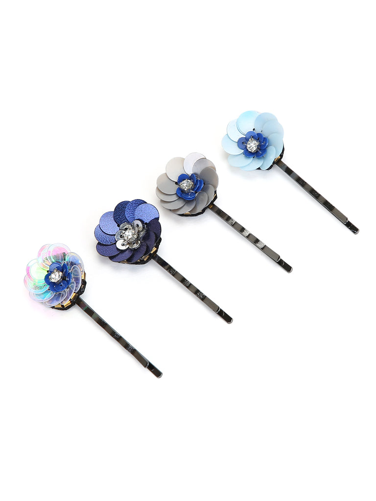 Mystic Blue Floral Pins - Set of  4 - Hair Drama Company