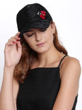 Black Lace Cap with Red Bug - Hair Drama Company