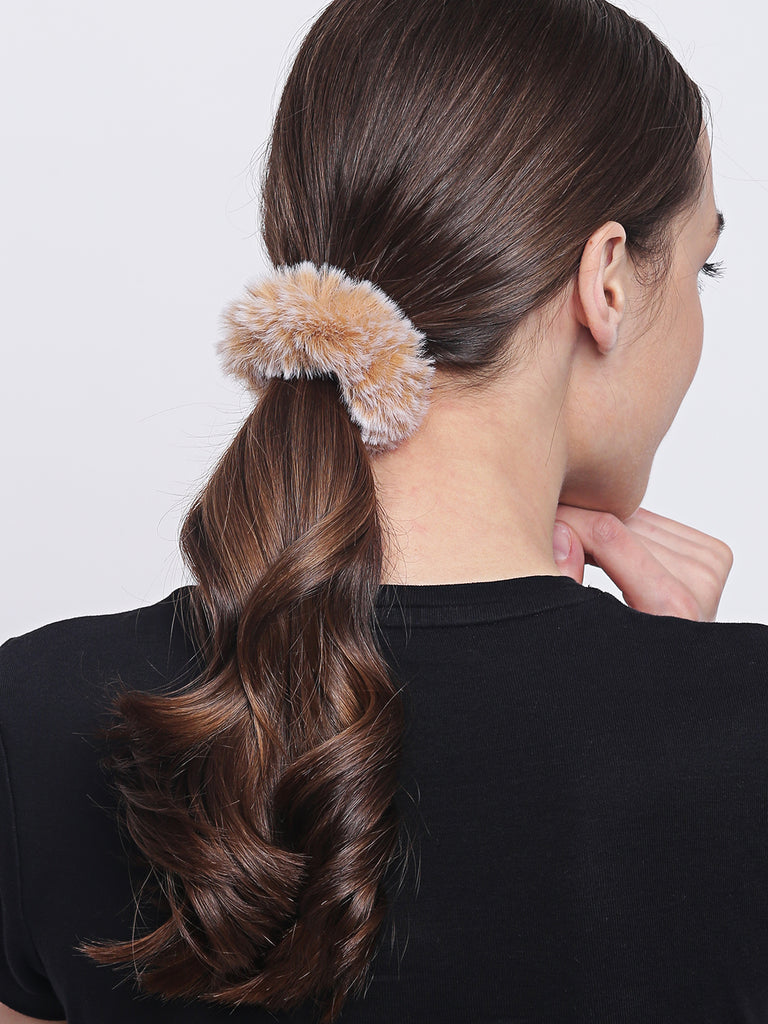 Kimberly fur scrunchies - Brown and Maroon - Hair Drama Company