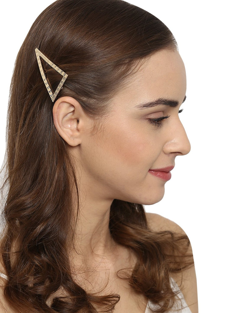 Triangular Golden Hair Pin - Hair Drama Company
