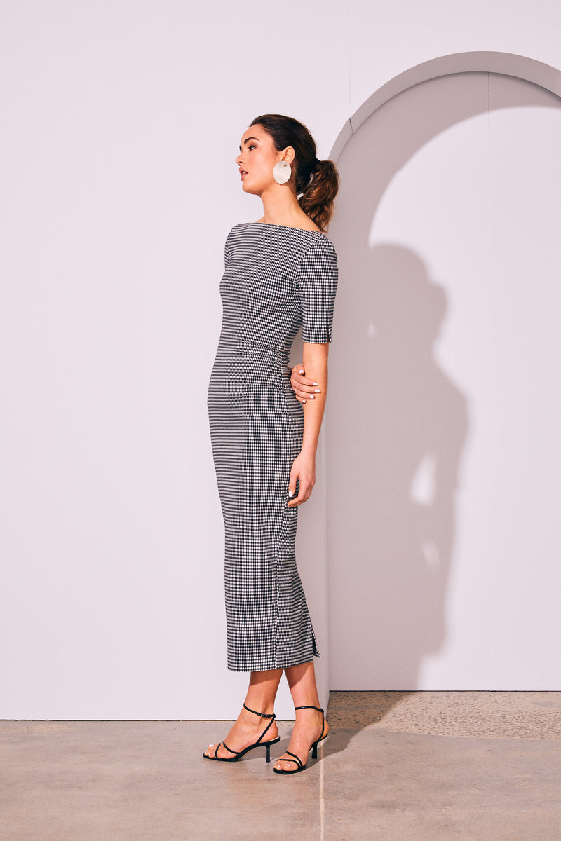 Grid Backless Dress