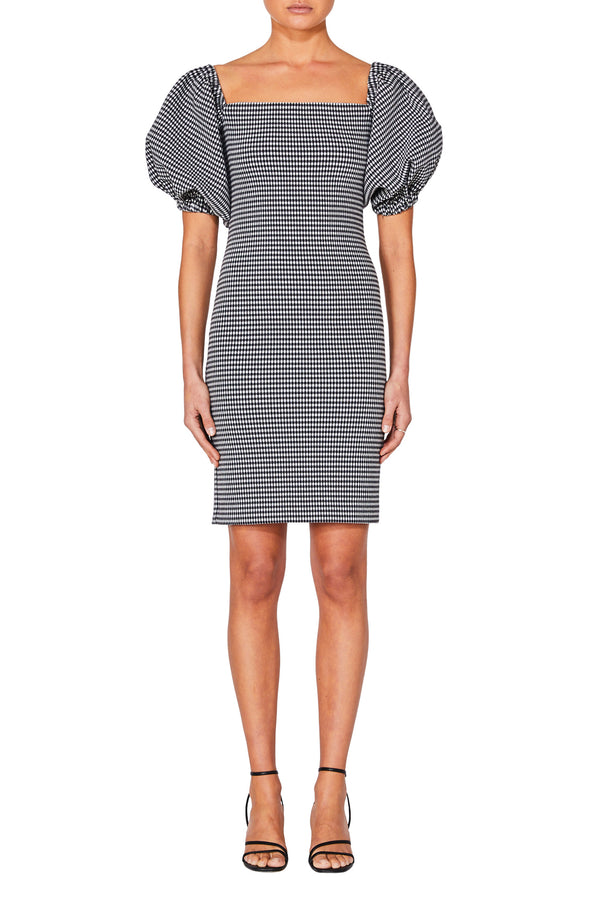 Grid Puff Sleeve Dress