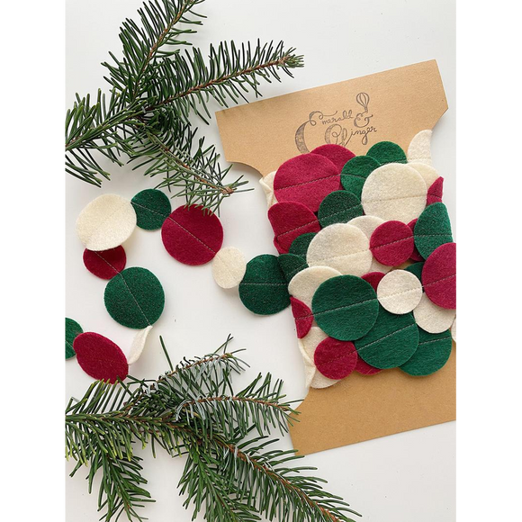 Christmas Felt Circle Garland Ball Burgundy, Cream, and Sparkly Forest Green