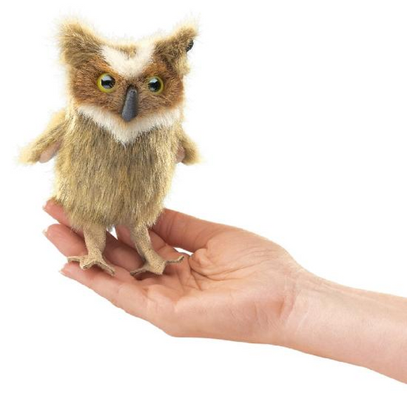 mini Great Horned Owl - Finger Puppet