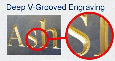 Comparing the difference of our V-grooved engraved signs with sandblasted signs or laser engraved