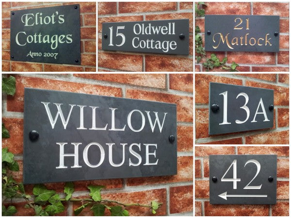 house signs in slate