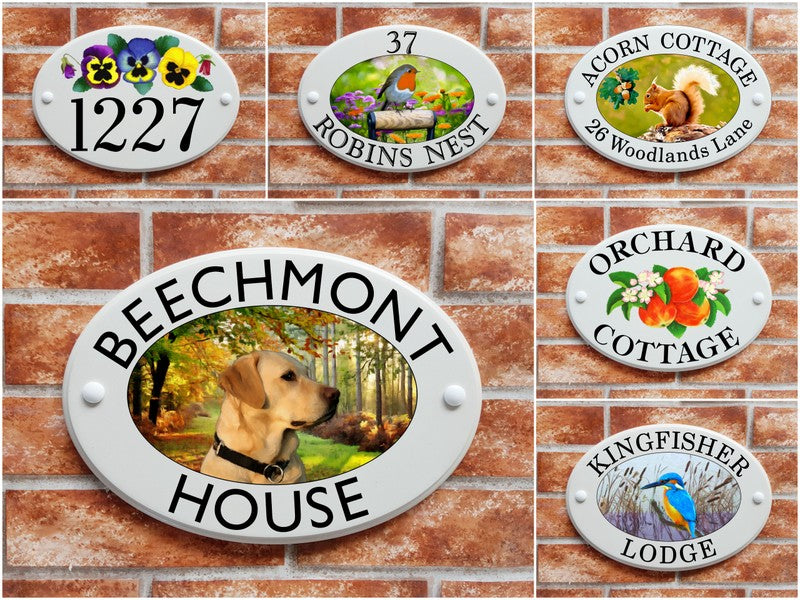 House signs with prints of dogs, cats, flowers, fruits etc created by our artists