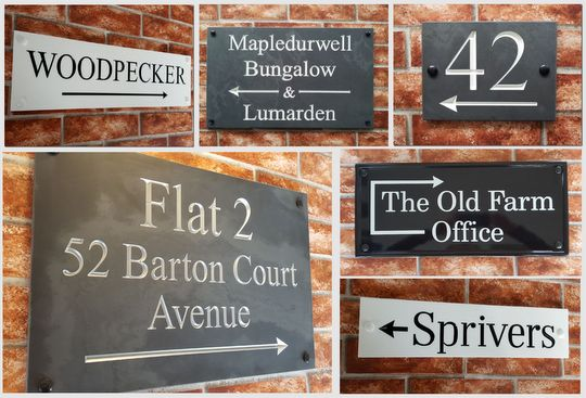Montage of directional house signs with pointing arrows