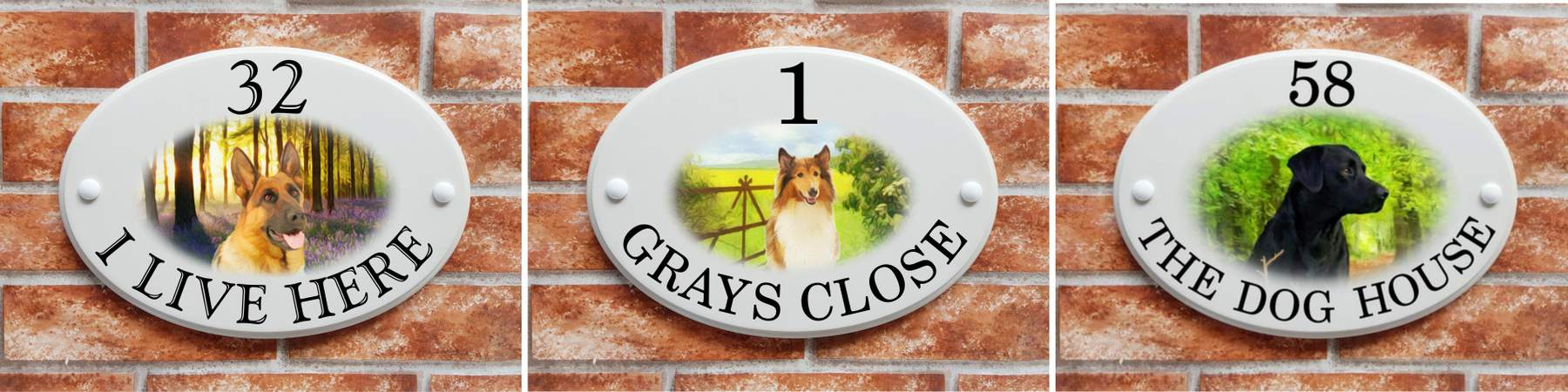 Dog breed house signs