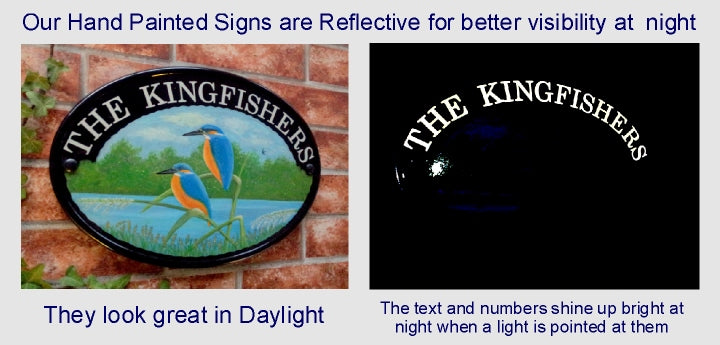 Examples of a reflective hand painted house plaque in day and at night