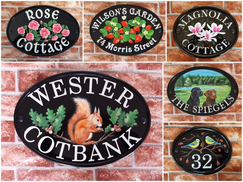 personalised hand painted house signs with motifs