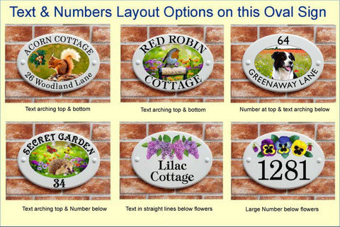 Coice of text number layouts for ceramic style house signs