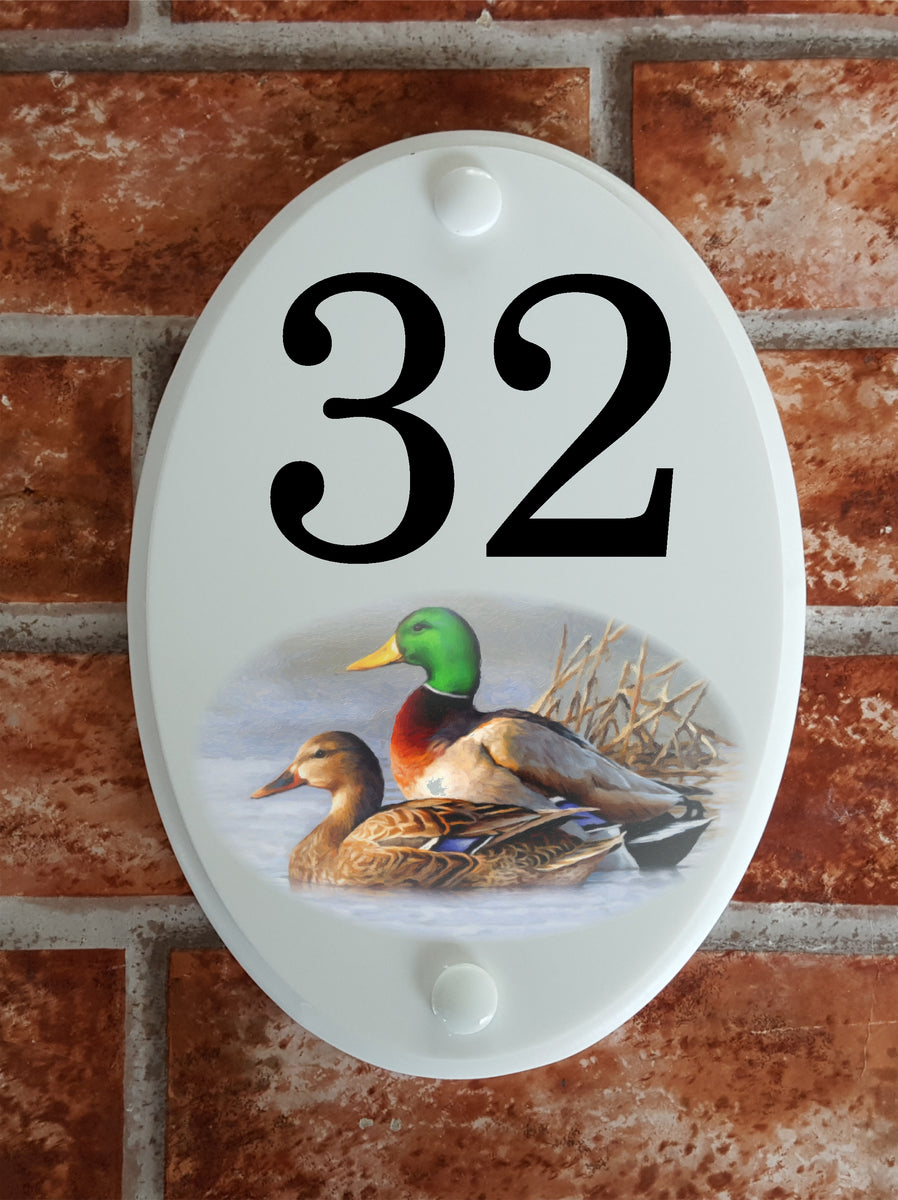 House number Plaque with ducks picture motif