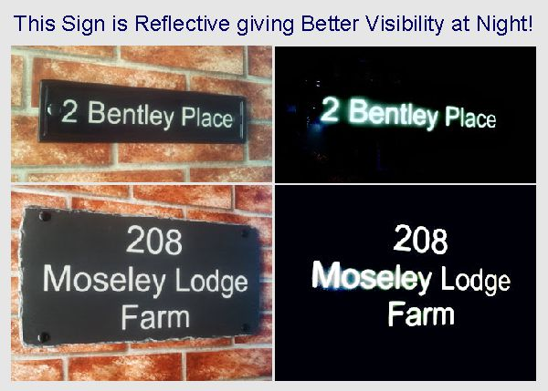 Reflective house signs examples