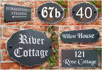 montage showing rustic slate style house plaques