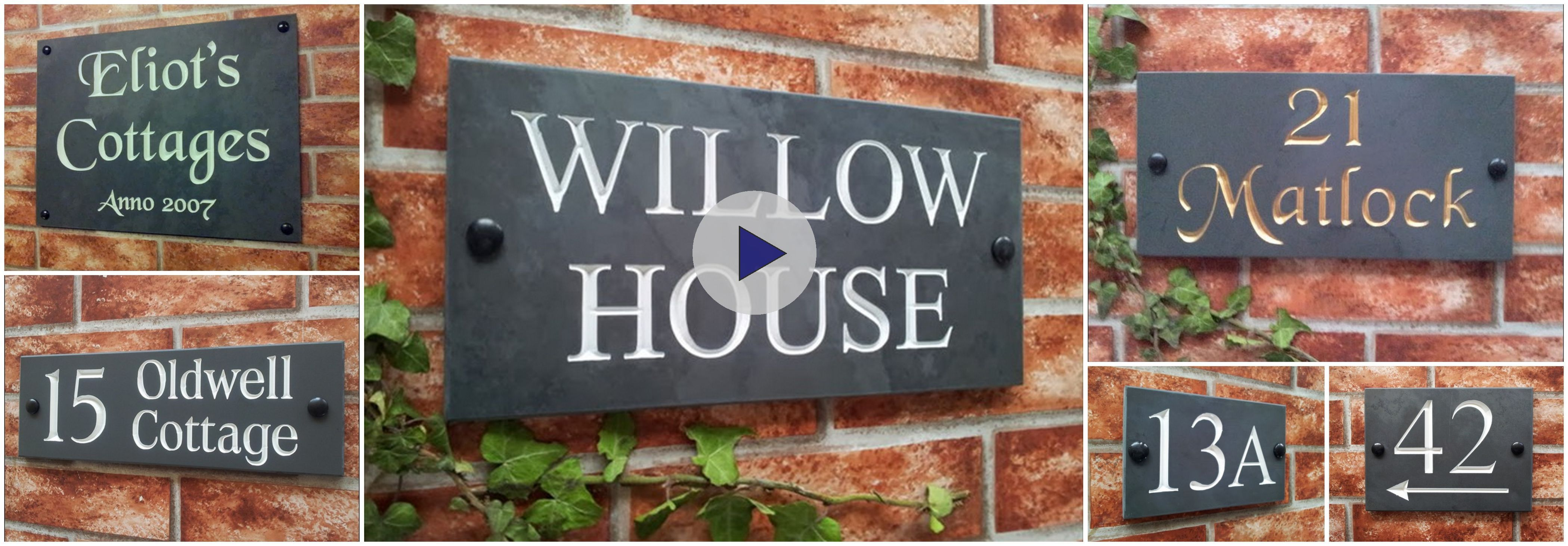 house signs in slate with deeply engraved house numbers house