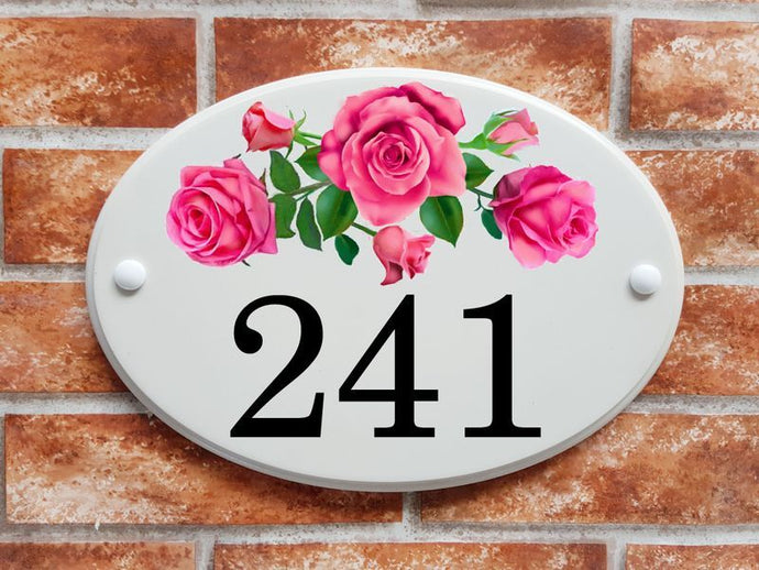 Pink roses with buds and foliage house number sign - House Sign Shop