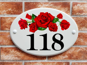 Red roses number sign - House Sign Shop
