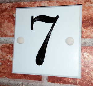 White house number sign  100mm x 100mm x9mm - House Sign Shop