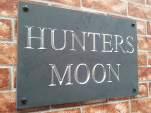 House sign in solid honed slate  450mm x 300mm - House Sign Shop