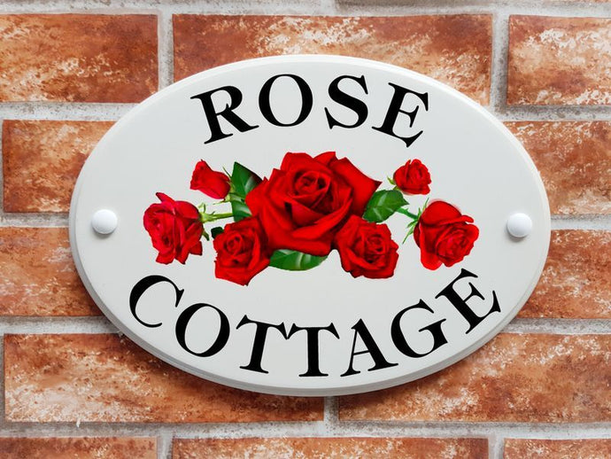 Rose Cottage with red roses house sign - House Sign Shop