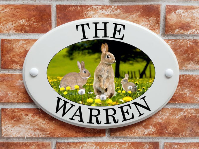 Rabbits in a meadow - House Sign Shop