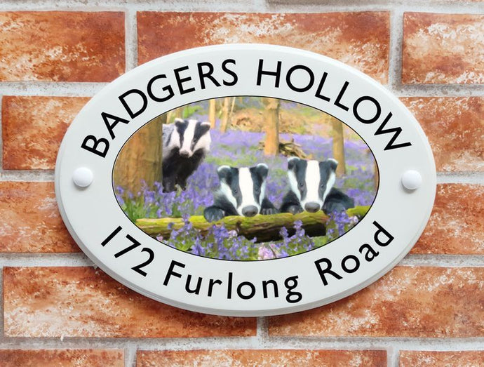 Badgers in bluebells wood house name/address sign - House Sign Shop