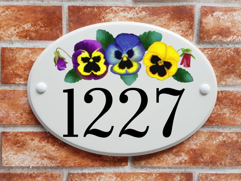 Pansies with buds and foliage - House Sign Shop