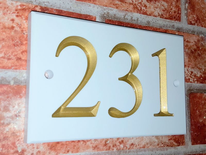 White three digit number sign 160mm x 100mm x 9mm - House Sign Shop