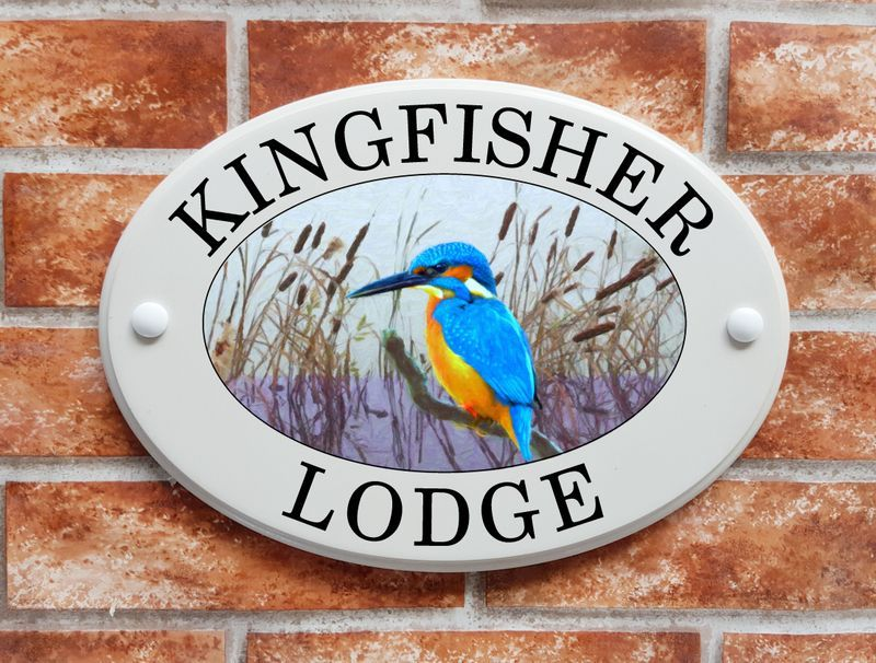 Kingfisher with reeds house sign - House Sign Shop