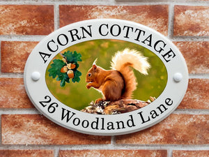 Red squirrel house sign in ceramic style