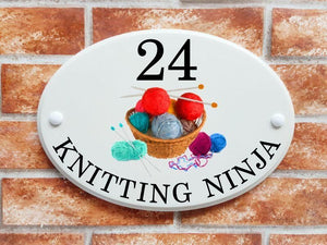 Knitting yarn and needles - House Sign Shop