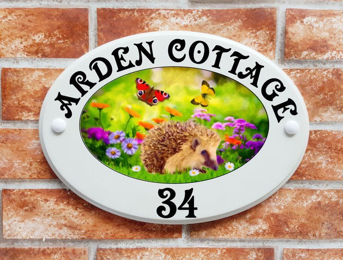 Hedgehog with flowers and butterflies - House Sign Shop